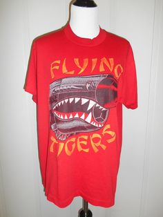 Vintage  tee t shirt 80s 90s Flying Tigers by ATELIERVINTAGESHOP