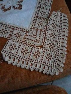 Crochet Boarders, Crochet Edging Patterns, Crochet Lace Edging, Thread Crochet, Love Crochet, Filet Crochet, Diy Crochet, Crochet Doilies, Crochet Stitches