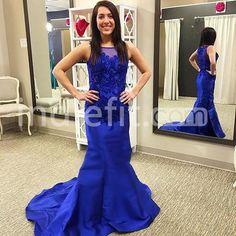 Blue Appliques Bateau Mermaid Satin Prom Dresses 2017
