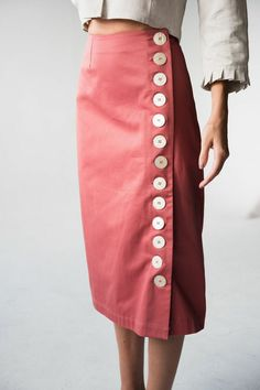 Button Skirt, Fashion Details, Style Fashion, Organic Cotton, High Waisted Skirt, How To Make, How To Wear, Pink, Womens Fashion