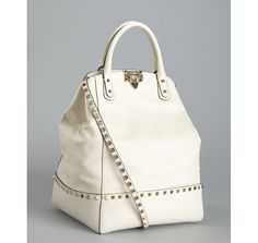 Valentino l white leather studded trim top handle bag l Retail : $2,045.00->  $1,471.50 (You save $574.00)