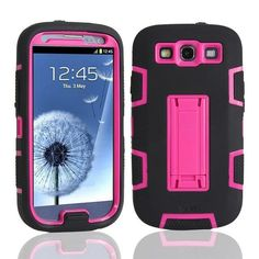 Shockproof Hybrid Armor Rubber Heavy Duty Case Cover For Samsung Galaxy S3 i9300 Stand Phone Cases w/Screen Protector+Stylus Pen