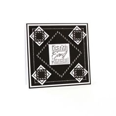 """My Tonic Studios -7""""x7""""  monochrome card created with Tonic studios square layering die set and also square pinhole layering sets this card was hand stitched with embroidery thread, cherish every moment is from the flip flop die sets from Tonic Studios"""