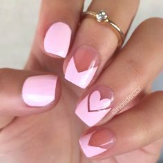 Pink Negative Space Valentines Day Nails
