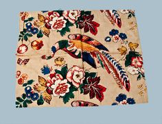 Early Chintz Fabric Sample with Pheasant Pattern, late 18th or early 19th century