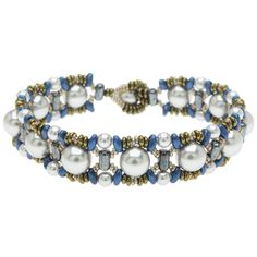 This bracelet offers a lustrous lineup of silvery Swarovski crystal pearls captured in a contrasting metallic weave of Toho Demi Rounds, Czech Glass MiniDuos and 2-Hole Rulla beads.