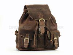 Greenburry VINTAGE Leder - kleiner Rucksack Lederrucksack Daypack - antikbraun 1711S-25
