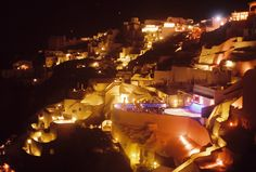 Oia, Santorini by night Oia Santorini, Spaces, Night, Concert, Concerts