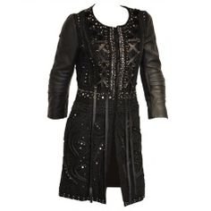 Emilio Pucci beaded lace leather Biker Jacket or Dress