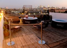 Bathtubs with a view of London's skyline at Netil360: https://hirespace.com/Spaces/London/32376/Netil360/Rooftop/Events