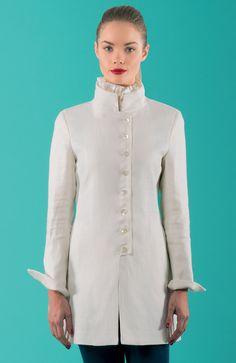 White 3/4 jacket - clothing - jackets - woman - Michele Negri