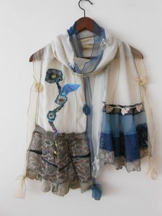 Cream scarf women's accessories handmade custom by Nazcolleccolors, $34.00