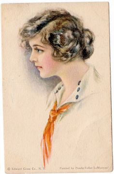 """Pretty Lady by """"Pearl Fidler LeMunyan"""" Edward Gross~ Publisher Circa Postcard by JerryBurton on Etsy Girls Series, Famous Artists, See Photo, Pretty Woman, American Girl, Watercolor Tattoo, Vintage Ladies, Cool Art, Pearls"""