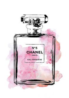 Chanel poster, 24x36 Coco Chanel No5 #watercolorarts