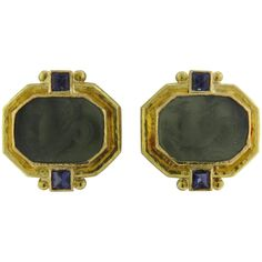 Elizabeth Locke Gold Venetian Glass Intaglio Iolite Gold Earrings | From a unique collection of vintage more earrings at https://www.1stdibs.com/jewelry/earrings/more-earrings/