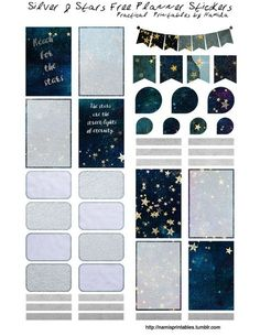Download Here: https://app.box.com/v/silver-and-stars Free Planner Sticker Printable is Sized for the Classic Happy Planner. It should work with other planner styles.
