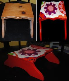 "Purchased Wooden Step Stool at Goodwill. I sanded and painted red.  Mod Podged fabric from an old ""groovy"" drape."