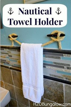 10  DIY Nautical Rope Towel Holder
