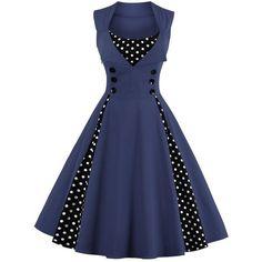Polka Dot Retro Corset A Line Dress ($19) ❤ liked on Polyvore featuring dresses, polka dot corset, blue dot dress, blue retro dress, retro corset and retro-style dresses