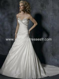 Princesse sweetheart les trains tribunal satiné Robe de mariée - €128.38 : WeddingDressesFR.com, Acheter des robes de mariée, robes de marié...