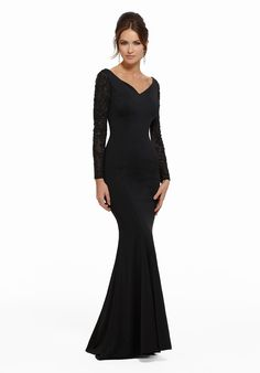 Evening dresses, designer mother of the bride dresses, mgny madeline gardner evening gowns matte jersey with beaded net sleeves style: 72006 Formal Dresses For Teens, Formal Evening Dresses, Formal Gowns, Short Dresses, Formal Wear, Mob Dresses, Wedding Dresses, Wedding Hair, Fashion Dresses