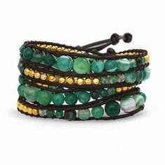 Jade and gold wrap bracelet!