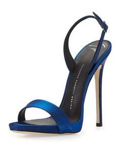 Satin Slingback Sandal, Electric Blue by Giuseppe Zanotti at Neiman Marcus.
