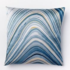 West Elm Marble Print Silk Pillow Cover - Dusty Blue
