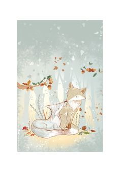 Fine Art Printed Illustration  Foxes In The Woods  by Micush, $37.50