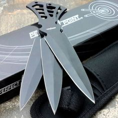 PERFECT POINT 3 Pieces THROWING KNIFE Black Ninja Throwers Set Knives Nylon Case