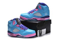 "Jordan 5 ""Blue/Pink"" women shoes"