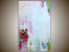 Modern Abstract Art Original Painting , Pink Red & Chartreuse Green Teal Blue Accents - Large Contemporary Painting on Stretched Canvas. $259.00, via Etsy.