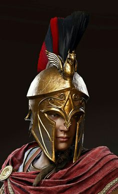 f Fighter Hvy Armor Helm Cloak portrait Underdark Traveler lg Arte Assassins Creed, Assassins Creed Odyssey, Spartan Logo, Spartan Warrior, Warrior Tattoos, Native American Pictures, Female Armor, Tiger Art, Roman Soldiers