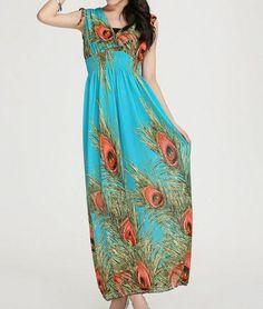 Pattern Maxi V Neck Dress
