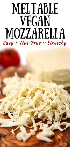 The best vegan mozzarella cheese! Rich and creamy cheese that melts and stretches. This is the meltable vegan cheese recipe that you have been looking for! Vegan Mozzarella Sticks, Recipes With Mozzarella Cheese, Vegan Cheese Recipes, Milk Recipes, Vegan Foods, Vegan Dishes, Dairy Free Recipes, Whole Food Recipes, Best Vegan Cheese