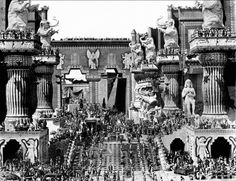 Intolerance (D.W. Griffith, 1916): Intolerance is one of the greatest movies of the Silent Era. It's a film to be experienced like a piece of music, to be compared with mankind's greatest artistic achievements. It was a mammoth production. The gigantic sets give the movie the scale dreamt by Griffith (there is even a homage to them in the videogame L.A. Noire). Extras delved so deep into their roles, they almost killed each other. | www.flicknook.com #flicknook