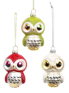 Three Wise Owls Ornaments - Set of 3 - Available at ShopPlasticland.com