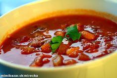 rajčinovo fazuľová polievka Thai Red Curry, Chili, Soup, Ethnic Recipes, Chili Powder, Chilis, Soups, Chile, Capsicum Annuum