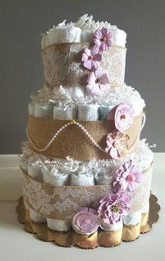 Diaper Cake/ Rustic Shabby Chic Diaper Cake/ It's A Girl
