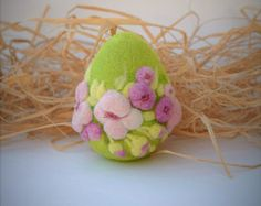 Egg Easter Decoration Felt Eggs Easter Gift Needle by LifeandWool