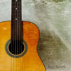 Music Art Print, Guitar Photography, Rustic Home Decor, Brown, Orange, Yellow, Grey, Black, 8x8