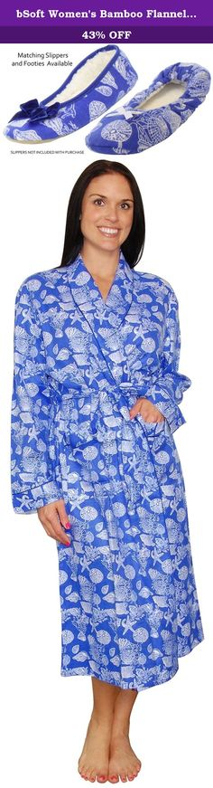 bSoft Women's Bamboo Flannel Robe Seashell Blue- S/M. bSoft Flannel is a super soft luxurious fabric, that blends rayon made from Bamboo with premium cotton (70% Bamboo Rayon/30% Cotton). This breathable fiber wicks away moisture in an instant and dries quickly to keep you comfortable at any temperature. Bamboo is also fully biodegradable and a renewable resource, making it an eco-friendly choice. Pajama Features a classic pajama silhouette with a button-up long sleeve top and matching…