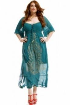18e0c6cb203fd3 Jurk lang gevoerd goudopdruk voor    jurken    Grote maten mode