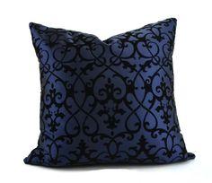 Navy Blue Tone on Tone Flocked Velvet Pillow by ThePillowSpot