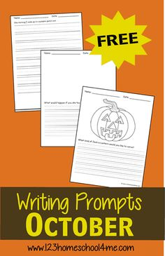 FREE October Writing Prompts for Kindergarten, first grade, 2nd grade, 3rd grade, 4th grade. These free printable writing prompts are great for extra practice at home, homeschooling, and writing centers #writingprompts #creativewritingprompts