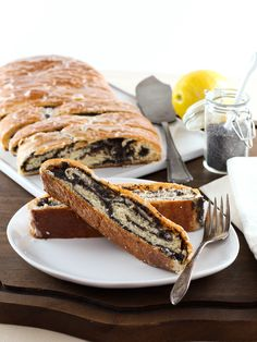 Poppy Seed Coffee Cake – Tender, Moist Yeast Bread with Poppy Seed Filling and a Sweet Lemon Glaze. Time-Tested Recipe.