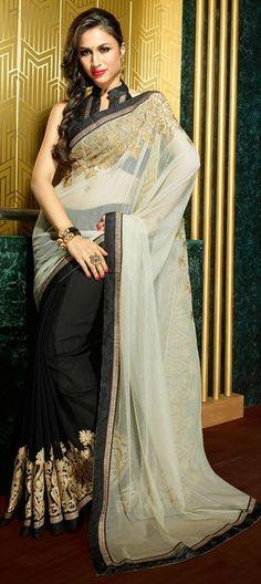 143566: #saree #Black #Partywear #grey #Wedding #Bridal #lace #Gold #Onlineshopping #sale #Diwali #festive #ethnic #Womenswear