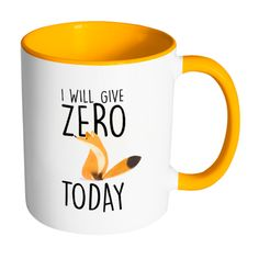 I will give zero fox today mug - Design Resources Handmade Shop, Etsy Handmade, Coffee Container, Etsy Uk, Mug Designs, Etsy Store, Typography, House Design