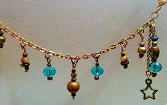 Copper Ankle Bracelet Adjustable Copper Lake Blue Glass