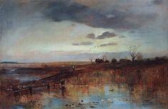 Village on the Creek.1870. Alexei Savrasov. Деревушка у ручья.1870-е. Алексей Саврасов